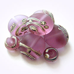 handmade etched rosatta trail glass lampwork beads by keiara