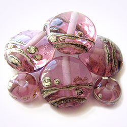 handmade lampwork rosatta trail glass lampwork beads by keiara - these have not been etched